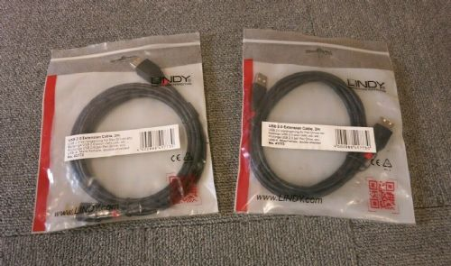 Job Lot 2 x New Lindy 41773 USB 2.0 Extension Cable 2M Black Male To Female